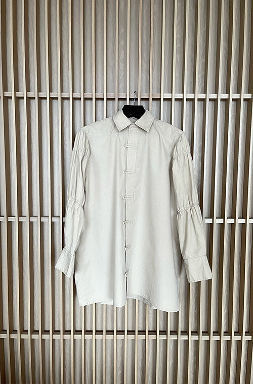 Gather Sleeve Shirt One Piece