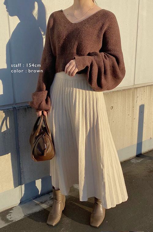 Crop Top V-neck Sweater