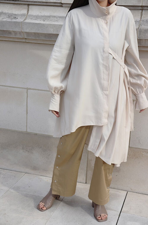 Long Mao Collar Drape Shirt One Piece